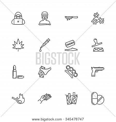Crime, Criminal Mafia Outline Icons Set - Black Symbol On White Background. Crime, Criminal Mafia Si