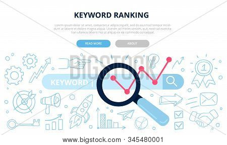 Search Engine Optimization And Keyword Ranking Concept. Vector Illustration With Many Doodle Element