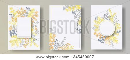 Botanical Herb Twigs, Tree Branches, Flowers Floral Invitation Cards Set. Herbal Frames Natural Card