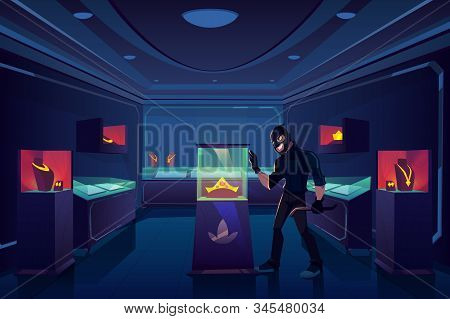 Robbery Of Jewelry Shop, Robber Or Thief With Nail Puller Stand In Dark Trading Room With Gold Jewel