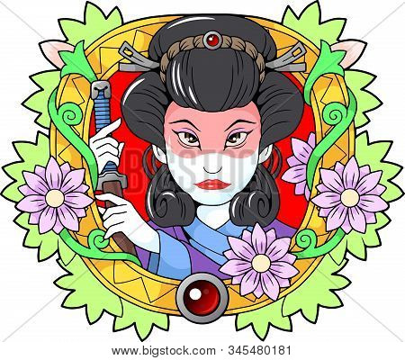 Japanese Beautiful Geisha With A Sword In His Hand, Cute Illustration