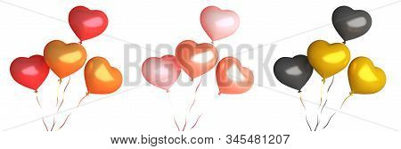 Happy Valentines Day, Valentines Day Background, Set Collection Of Red Gold Black Pink Heart Shape B