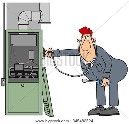 Illustration Of A Male Worker Wearing Coveralls Checking A Residential Furnace With A Stethoscope.