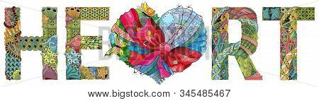 Word Heart Heart Tied With A Ribbon With A Bow. Vector Zentangle Object For Decoration