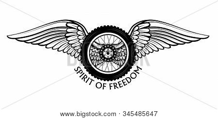 Vector Emblem With The Image Of A Motorcycle Wheel And White Wings Symbolizing Freedom. Motorcycle R