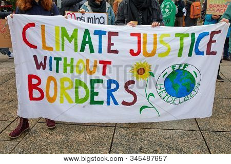 Mainz, Germany -january 17, 2020: Fridays For Future Protest - Participants Protesting Against Clima