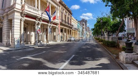 Havana, Cuba - May 13, 2019: French And Cuban Alliance Building In The Old Havana City, Capital Of C