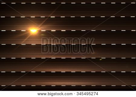 Shutters - Blinds With Sunlight In The Morning. Dark Wooden Window With Blinds. Interior Abstract De