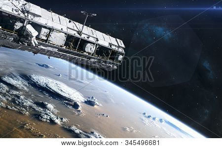 Earth Orbit. Iss. Solar System. Science Fiction. Elements Of This Image Furnished By Nasa