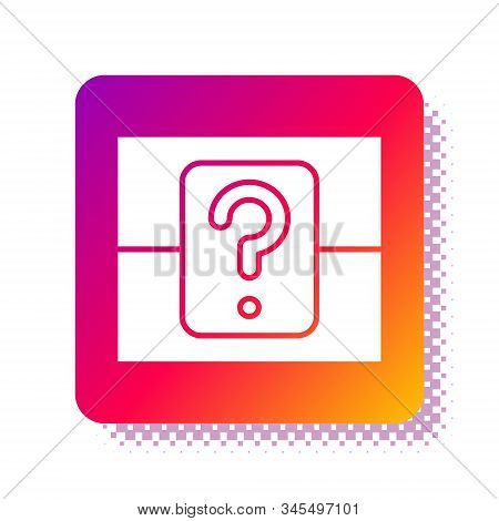 White Mystery Box Or Random Loot Box For Games Icon Isolated On White Background. Question Box. Squa