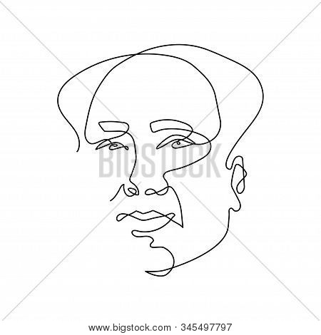 Continuous One Line Drawing Of Mao Zedong - Chinese Revolutionary, Statesman, Political And Party Le