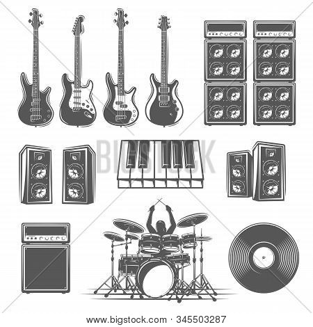 Set Of Musical Instruments Isolated On A White Background