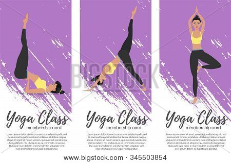 Yoga Class Vertical Flyers In Flat Style. Attractive Girl In Sportswear Practicing Yoga. Healthy Lif