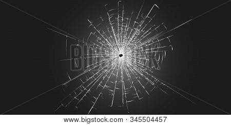 Broken Glass Texture Template On A Black Background