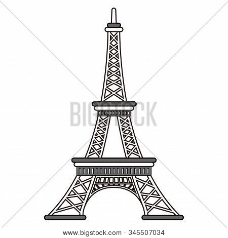 Isolated Eiffel Tower Outline Over A White Background - Vector