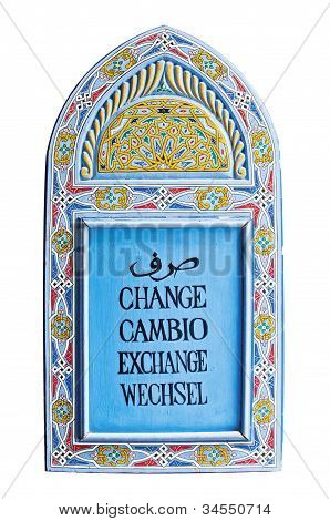 Currency exchange sign in arabic english spanish and german isolated on white background poster