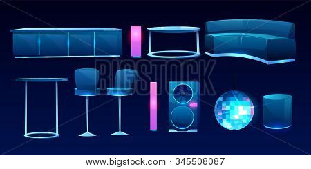Furniture For Night Club Or Bar Isolated On Dark Background, Counter Desk, Table, Couch, Sofa, High