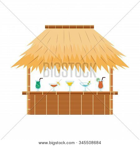 Tropical Tiki Bar Hut With Cocktail Drinks On Counter - Exotic Beach Cafe