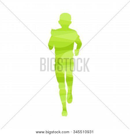 Front View Silhouette Of Marathon Runner - Light Green Outline