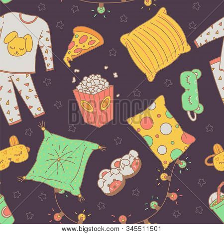 Seamless Pattern With Sleepover Pajama Party Items, Sketch Vector Illustration.