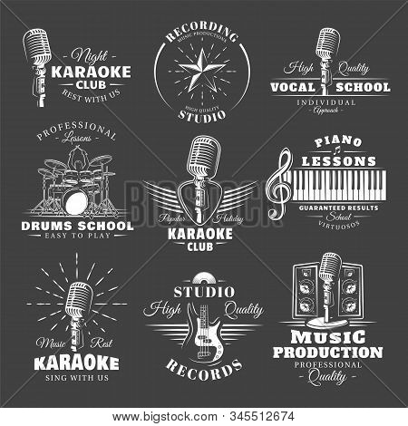 Set Of Vintage Musical Labels Templates Isolated On Black Background. Elements For Music Design. Tem