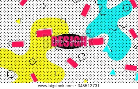 Flow Shapes. Memphis Design. 90s Pattern. Vector Illustration. Hipster Style 80s-90s. Abstract Color