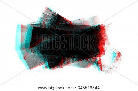 Glitch noise Abstract color smear blot painting background. Monotype frame. Isolated on white.