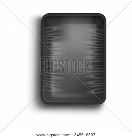 Black Container With Cling Film Cover, Realistic Vector Illustration Isolated.