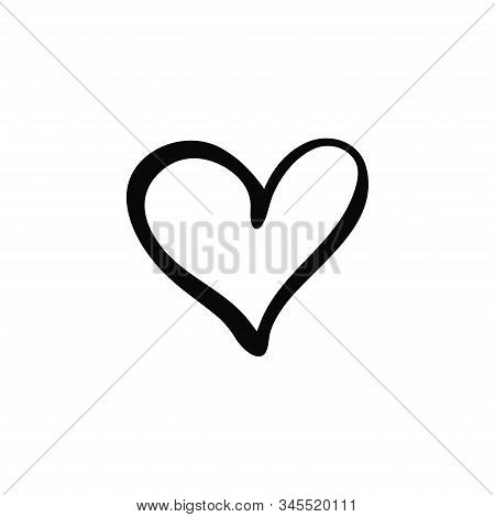 Hand Drawn Isolated Heart. Doodle Rough Marker Heart On White Background. Love Icon. Vector Illustra