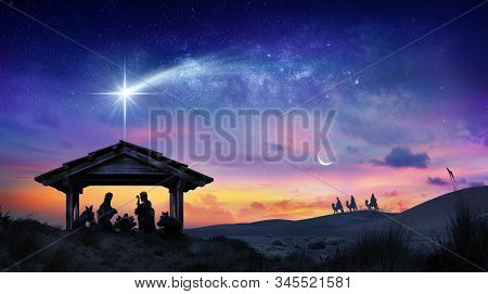 Nativity Of Jesus Scene With The Holy Family With Comet At Sunrise