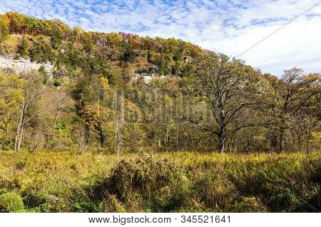 Whitewater State Park Woodlands And Bluffs During Autumn In Karst Region Of Southeastern Minnesota