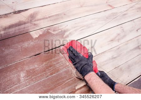 Furniture Renovation By Use Grinding Machine Polish Wood Surface.sanding Hardwood Floor With The Gri