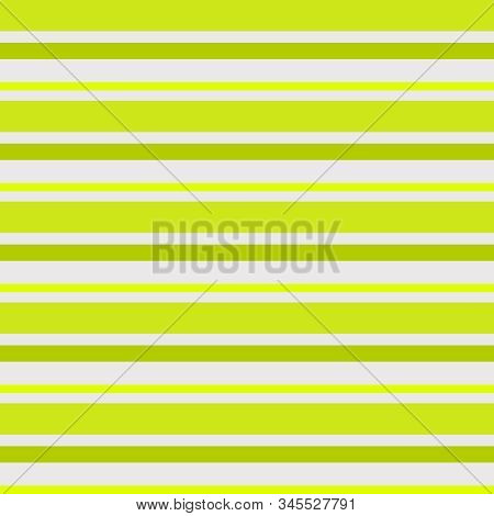 Chartreuse Horizontal Striped Pattern In Varied Size Stripes And Shades Of Chartreuse On A Ecru Back