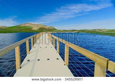 Floating boardwalk through the Prince Edward Island National Park at Greenwich, PEI, Canada.
