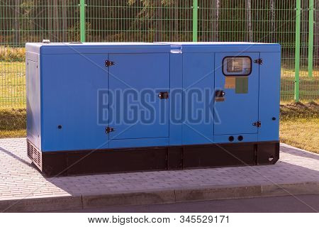 Street Lighting, A Large Diesel Generator. Backup Source Of Electricity. Close-up.