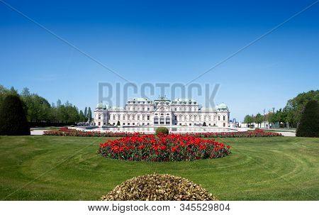 Vienna, Austria - April 21, 2018: Belvedere Palace And Garden In Vienna, Austria. Historic Building