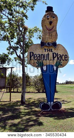 Tolga, Queensland/australia-jan 2, 2020: A Very Large Sign Advertising Sale Of Peanuts In The Athert