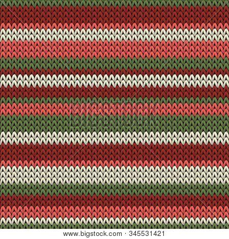 Modern Horizontal Stripes Knitting Texture Geometric Seamless Pattern. Rug Knitwear Fabric Print. Fa