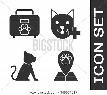 Set Map Pointer With Veterinary Medicine Hospital, Pet First Aid Kit, Cat And Veterinary Clinic Symb