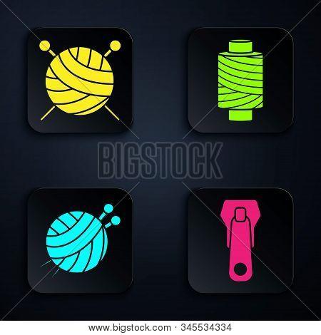 Set Zipper, Yarn Ball With Knitting Needles, Yarn Ball With Knitting Needles And Sewing Thread On Sp
