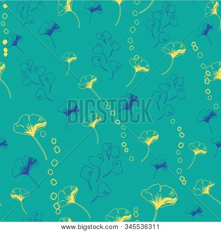Vector Seamless Pattern Ginko Wax With Blue Ginkgo Leaves, Yellow Dots