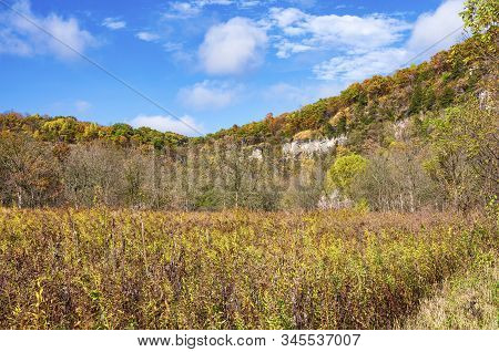 Prairie And Wooded Bluffs Autumn Landscape Of Whitewater State Park In Karst Region Of Southeastern
