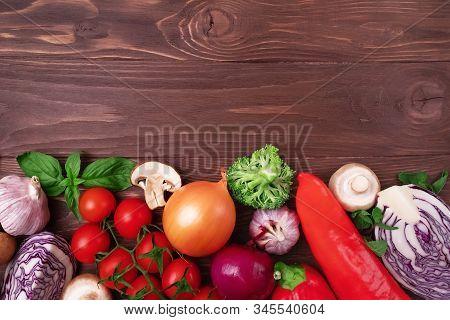 Healthy Clean Eating Layout, Vegetarian Food, Diet Nutrition Concept. Various Fresh Vegetables Ingre