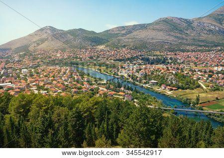 View Of Trebinje City And Trebisnjica River From Crkvina Hill On Sunny Summer Day. Bosnia And Herzeg