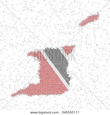 Map Of Trinidad And Tobago. Mosaic Style Map With Flag Of Trinidad And Tobago. Vector Illustration.