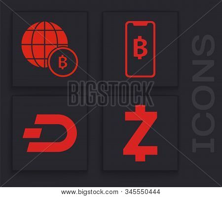 Set Cryptocurrency Coin Zcash Zec, Globe And Cryptocurrency Coin Bitcoin, Phone Mobile And Cryptocur