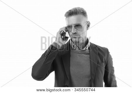 Serious Conversation. Nothing Personal Just Business. Man Control Business Phone Call. Businessman C