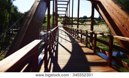 Wooden Bridge Crossing The Adaja River, Passing Through Ávila