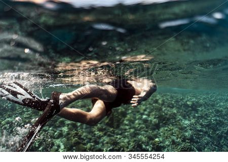 Snorkeling Through The Ocean Of Egypt, Underwater Snorkeling, Male Man Snorkeling In The Ocean