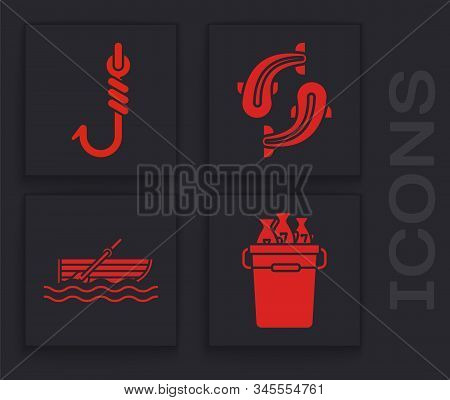 Set Fishing Bucket With Fishes, Fishing Hook, Fish And Fishing Boat With Oars On Water Icon. Vector